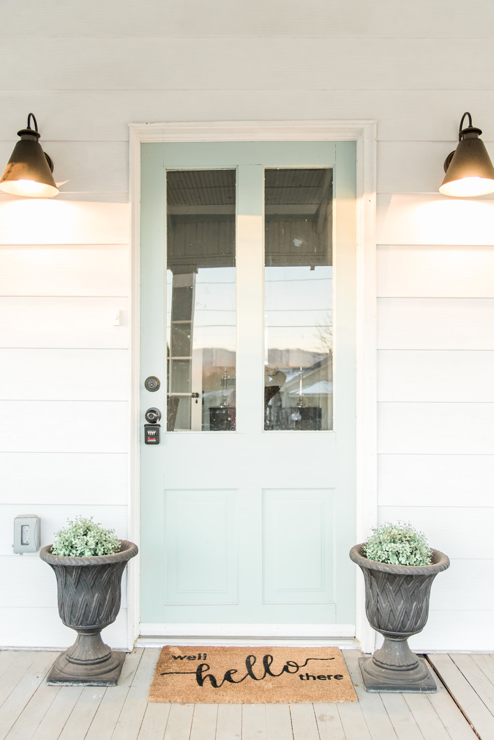 Elizabeth Burns Design | Farmhouse DIY renovation, Wythe Blue Front Door