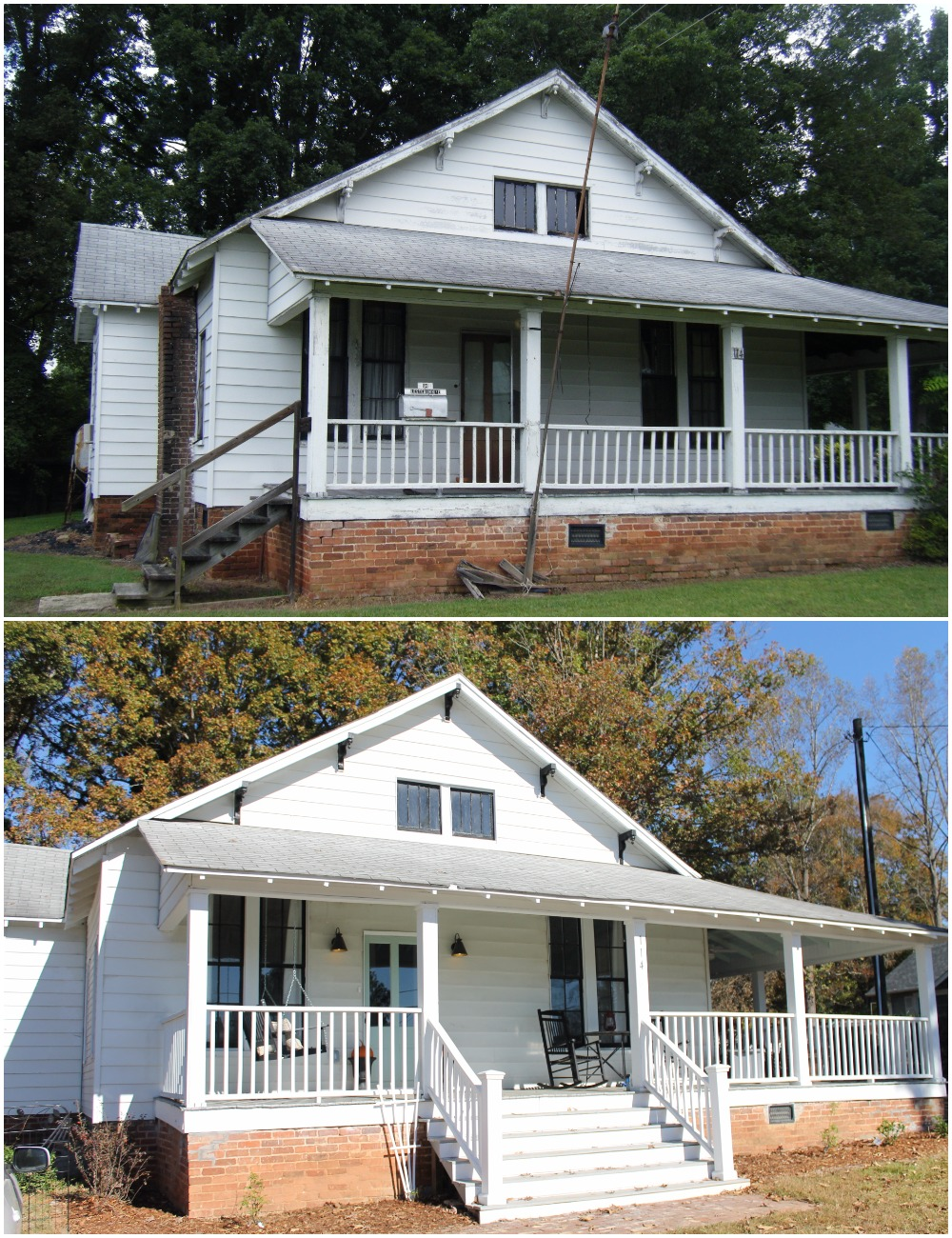 Elizabeth Burns Design  Budget-Friendly Fixer Upper Farmhouse Before and After House Flip - DIY Curb Appeal White Farm House Cottage with Black Windows and Wide Front Steps to Front Porch - Wythe Blue  (4).jpg