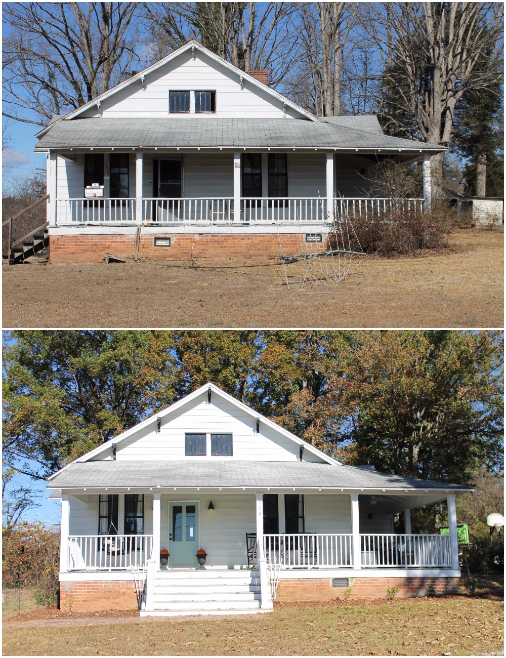 Elizabeth Burns Design  Budget-Friendly Fixer Upper Farmhouse Before and After House Flip - DIY Curb Appeal White Farm House Cottage with Black Windows and Wide Front Steps to Front Porch - Wythe Blue  (5).jpg