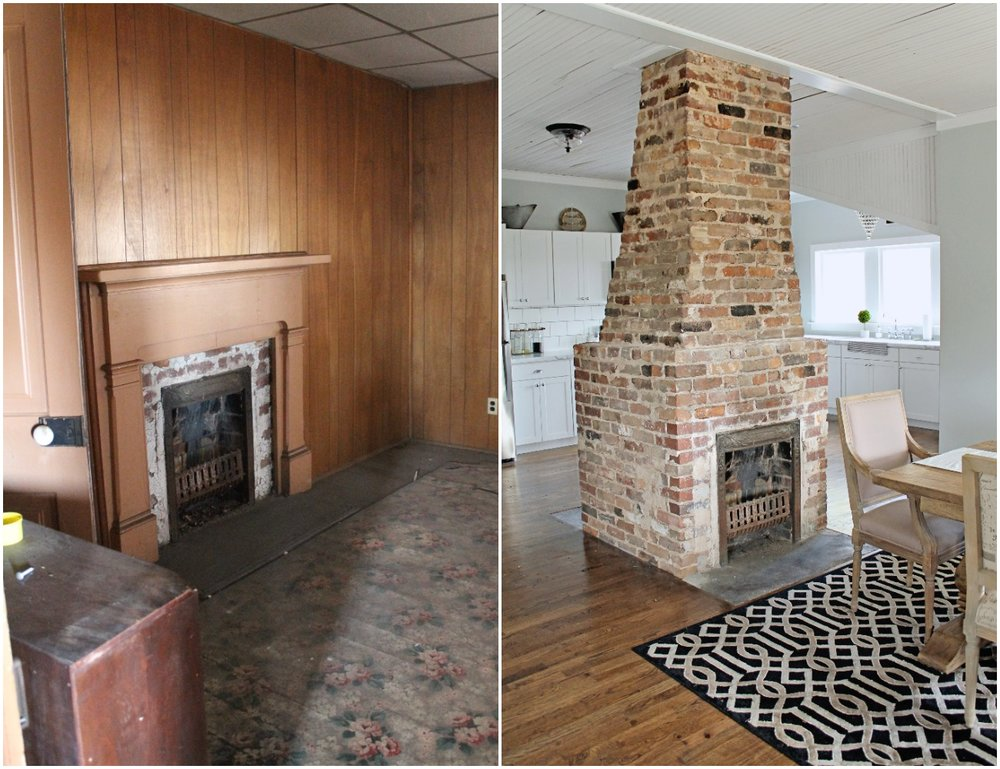 Elizabeth Burns Design  Budget-Friendly Fixer Upper Farmhouse Before and After House Flip - DIY Dining Room with Exposed Brick Fireplace - Sherwin Williams Silver Strand (2).jpg