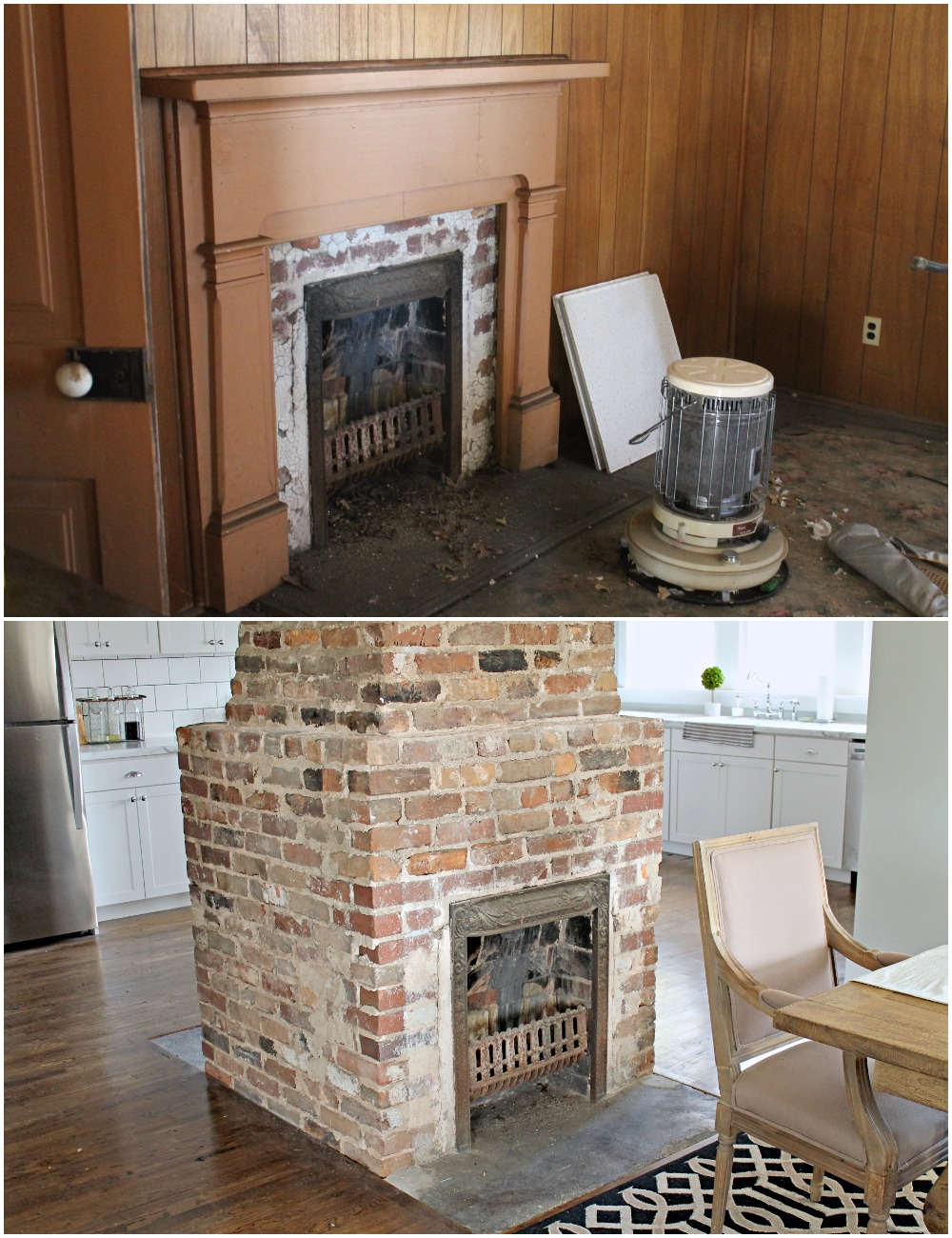 Elizabeth Burns Design  Budget-Friendly Fixer Upper Farmhouse Before and After House Flip - DIY Dining Room with Exposed Brick Fireplace - Sherwin Williams Silver Strand (1).jpg