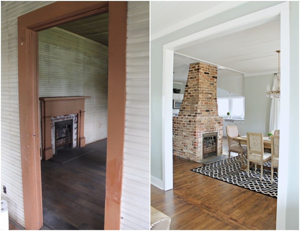 Elizabeth Burns Design  Budget-Friendly Fixer Upper Farmhouse Before and After House Flip - DIY Dining Room with Exposed Brick Fireplace - Sherwin Williams Silver Strand (3).jpg