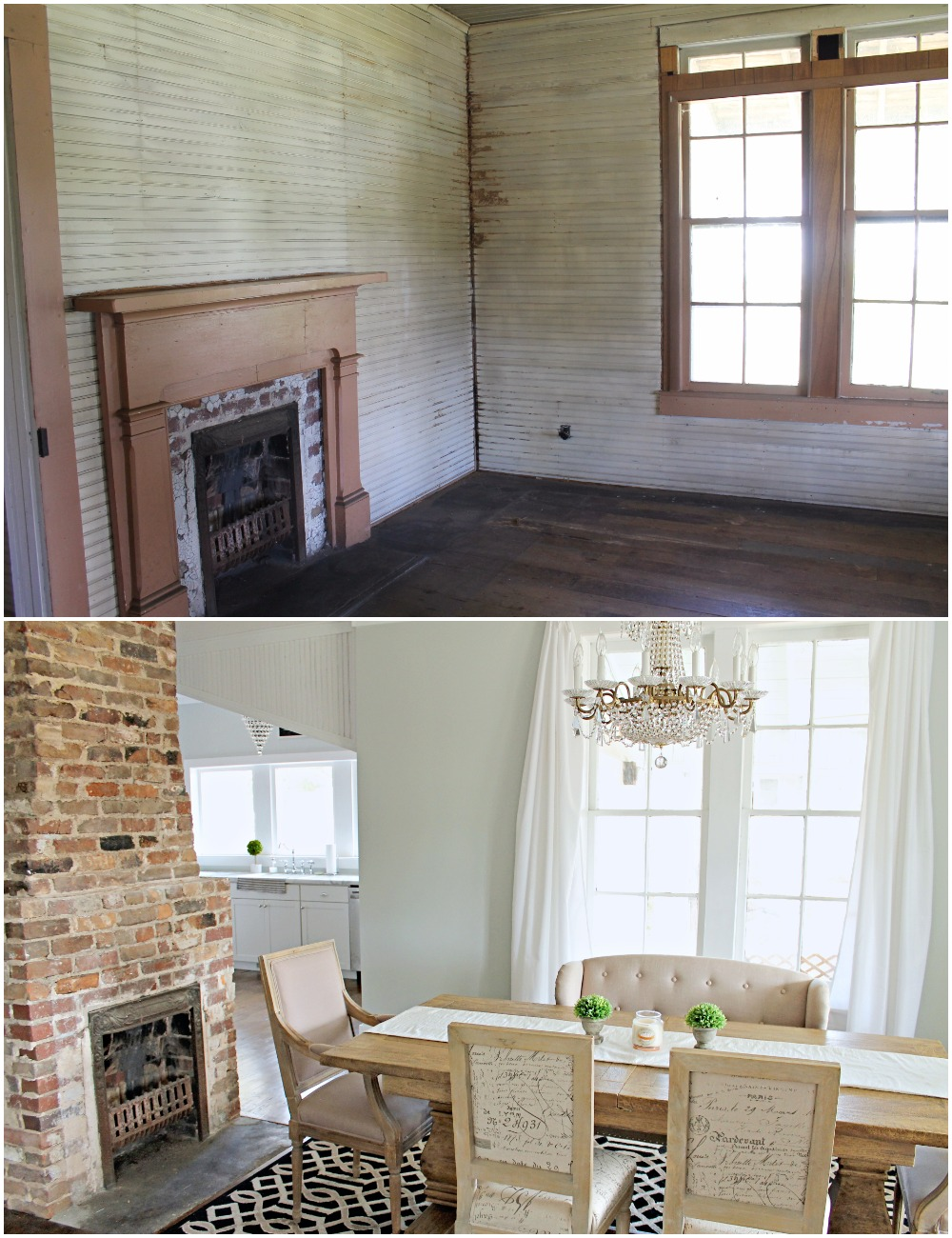 Elizabeth Burns Design  Budget-Friendly Fixer Upper Farmhouse Before and After House Flip - DIY Dining Room with Exposed Brick Fireplace - Sherwin Williams Silver Strand (5).jpg