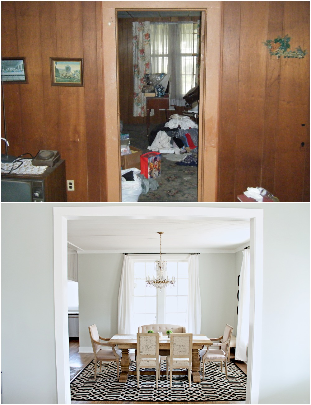 Elizabeth Burns Design  Budget-Friendly Fixer Upper Farmhouse Before and After House Flip - DIY Dining Room with Exposed Brick Fireplace - Sherwin Williams Silver Strand (6).jpg