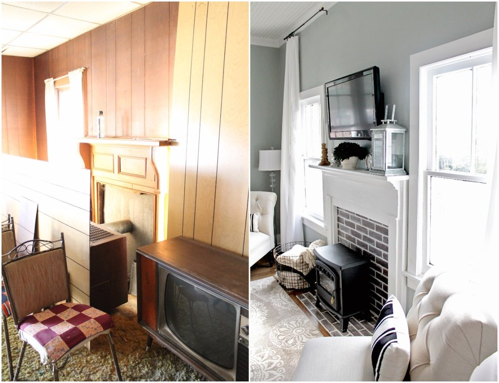 Elizabeth Burns Design  Budget-Friendly Fixer Upper Farmhouse Before and After House Flip - DIY Living Room with Faux Fireplace and French Doors - Sherwin Williams Magnetic Gray (8).jpg