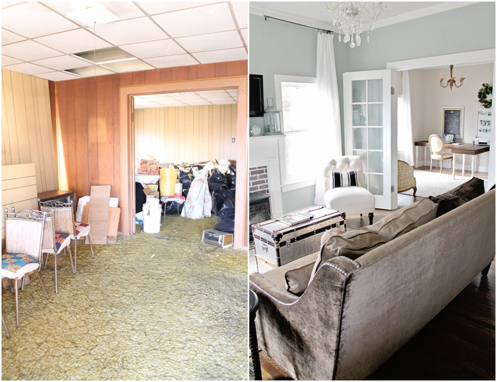 Elizabeth Burns Design  Budget-Friendly Fixer Upper Farmhouse Before and After House Flip - DIY Living Room with Faux Fireplace and French Doors - Sherwin Williams Magnetic Gray (7).jpg