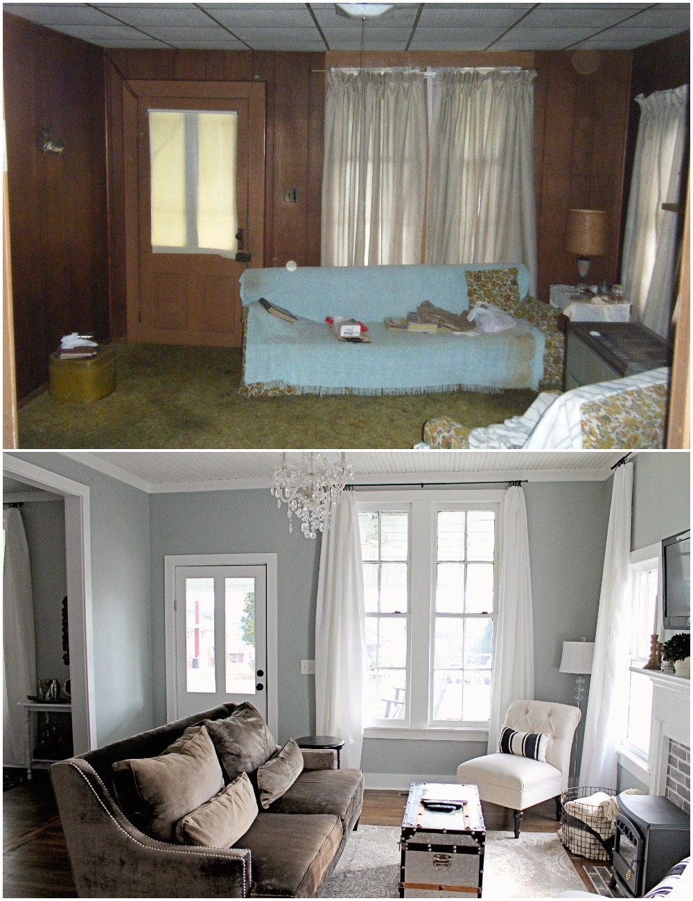 Elizabeth Burns Design  Budget-Friendly Fixer Upper Farmhouse Before and After House Flip - DIY Living Room with Faux Fireplace and French Doors - Sherwin Williams Magnetic Gray (6).jpg