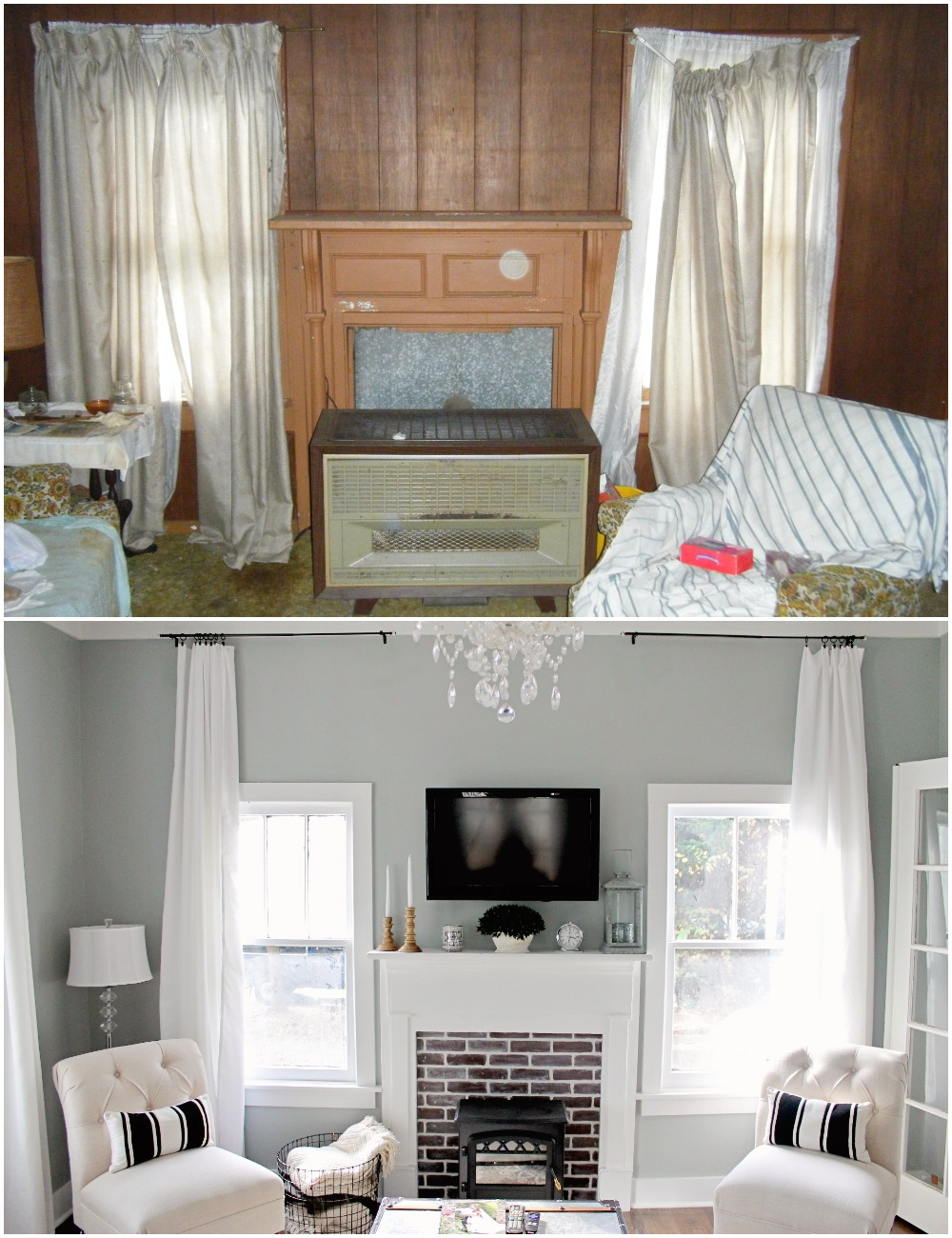 Elizabeth Burns Design  Budget-Friendly Fixer Upper Farmhouse Before and After House Flip - DIY Living Room with Faux Fireplace and French Doors - Sherwin Williams Magnetic Gray (5).jpg