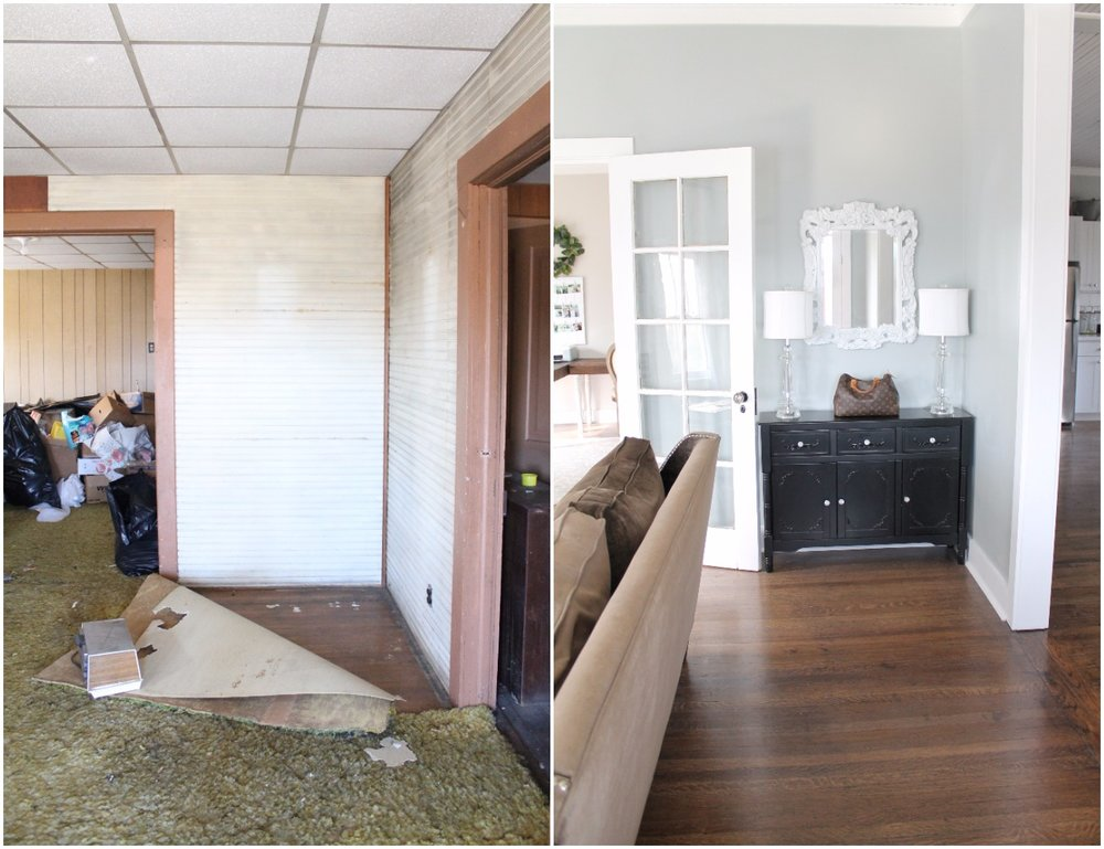 Elizabeth Burns Design  Budget-Friendly Fixer Upper Farmhouse Before and After House Flip - DIY Living Room with Faux Fireplace and French Doors - Sherwin Williams Magnetic Gray (4).jpg