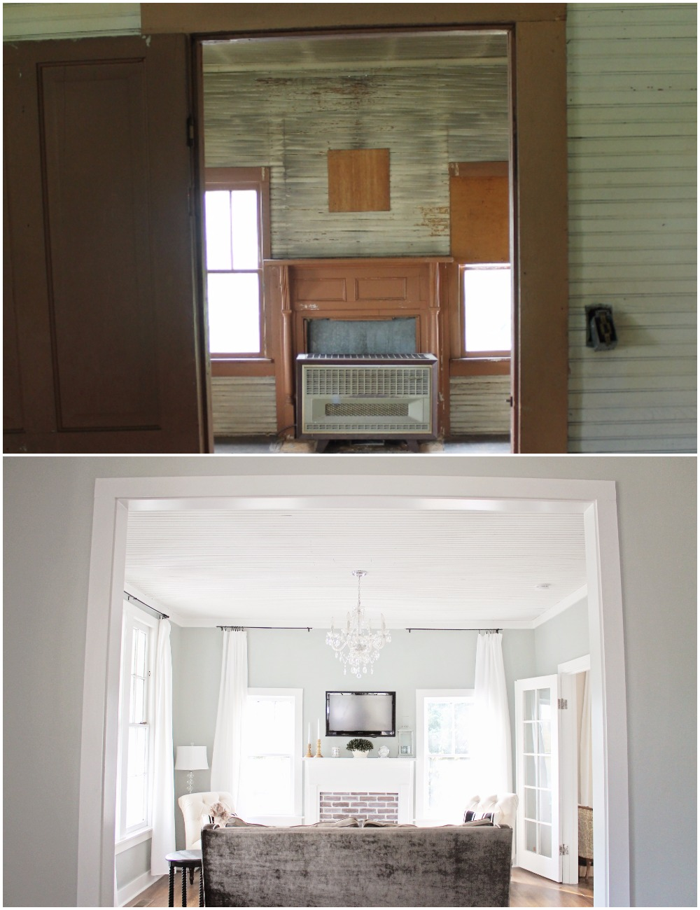 Elizabeth Burns Design  Budget-Friendly Fixer Upper Farmhouse Before and After House Flip - DIY Living Room with Faux Fireplace and French Doors - Sherwin Williams Magnetic Gray (3).jpg