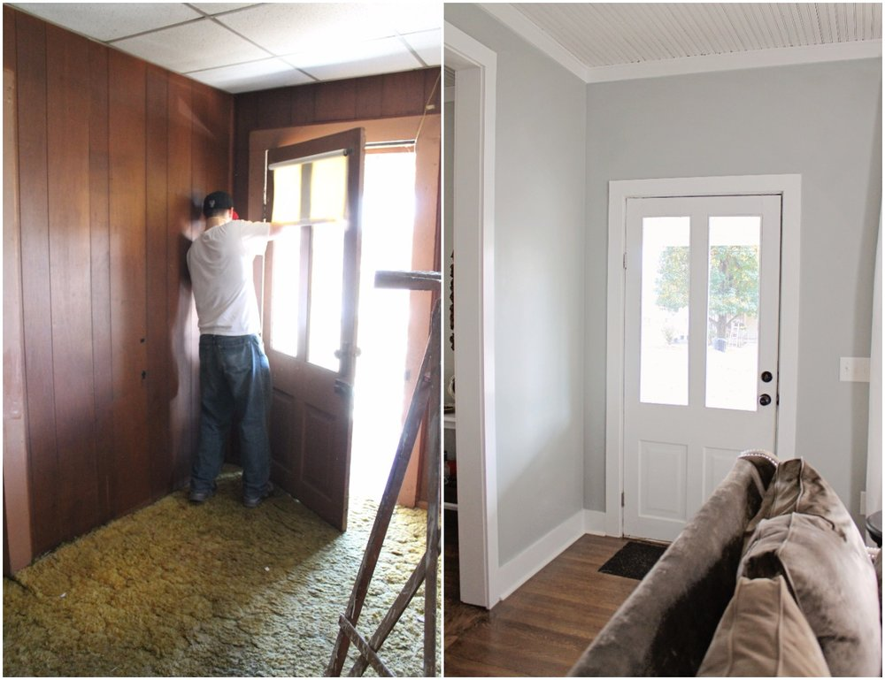 Elizabeth Burns Design  Budget-Friendly Fixer Upper Farmhouse Before and After House Flip - DIY Living Room with Faux Fireplace and French Doors - Sherwin Williams Magnetic Gray (2).jpg