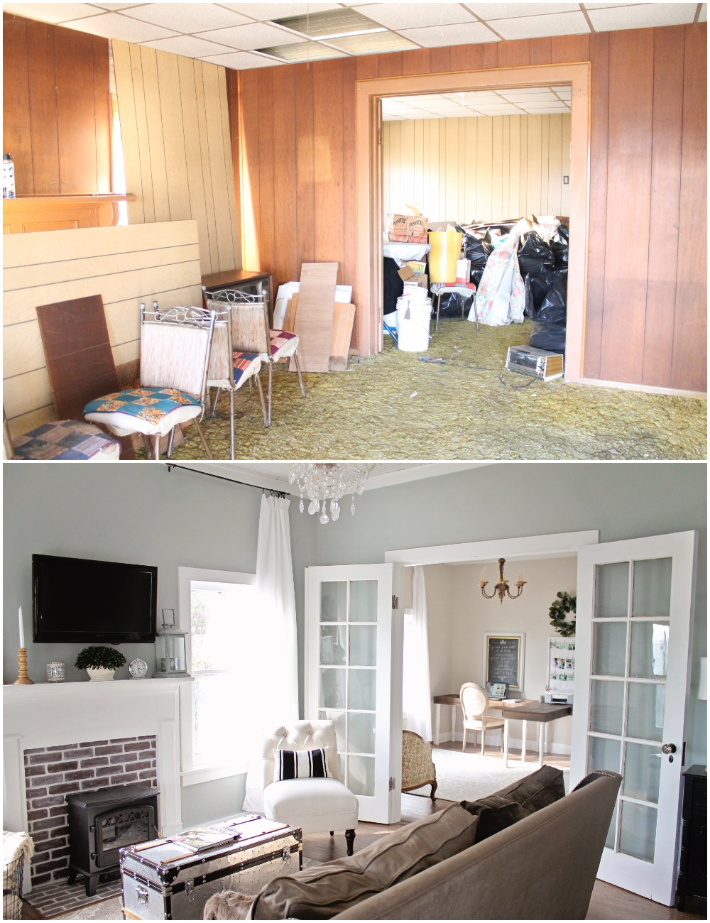 Elizabeth Burns Design  Budget-Friendly Fixer Upper Farmhouse Before and After House Flip - DIY Living Room with Faux Fireplace and French Doors - Sherwin Williams Magnetic Gray (1).jpg