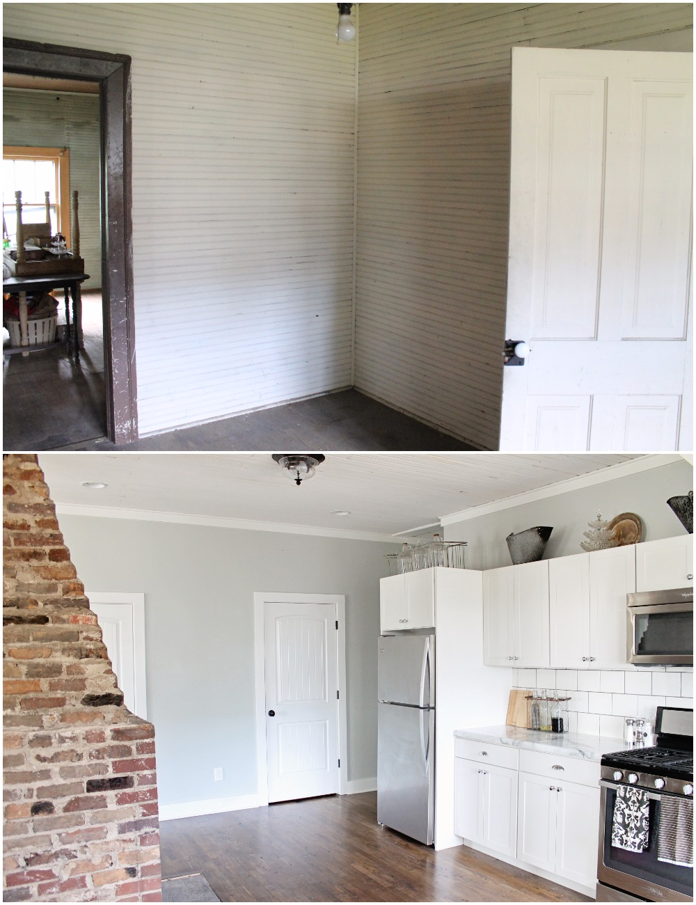 Elizabeth Burns Design  Budget-Friendly Fixer Upper Farmhouse Before and After House Flip - DIY Kitchen with Formica Marble Counter White Shaker Cabinets Barn Door - Sherwin Williams Silver Strand (4).jpg
