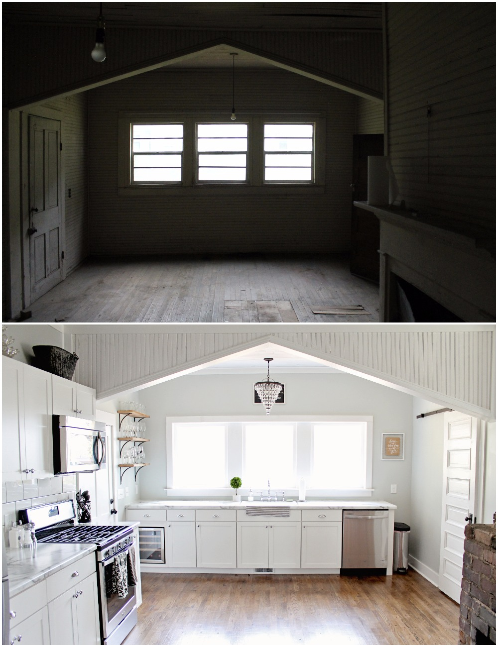 Elizabeth Burns Design  Budget-Friendly Fixer Upper Farmhouse Before and After House Flip - DIY Kitchen with Formica Marble Counter White Shaker Cabinets Barn Door - Sherwin Williams Silver Strand (1).jpg