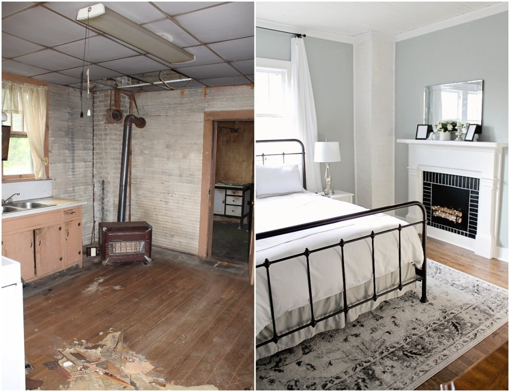 Elizabeth Burns Design  Budget-Friendly Fixer Upper Farmhouse Before and After House Flip - DIY Master Bedroom with Faux Fireplace, Chimney, and Bed Under Windows - Sherwin Williams Magnetic Gray (6).jpg