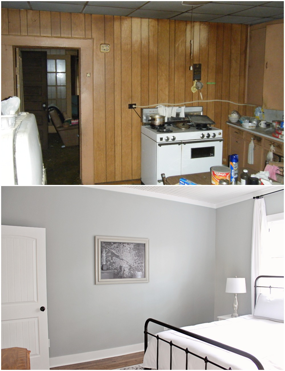 Elizabeth Burns Design  Budget-Friendly Fixer Upper Farmhouse Before and After House Flip - DIY Master Bedroom with Faux Fireplace, Chimney, and Bed Under Windows - Sherwin Williams Magnetic Gray (5).jpg
