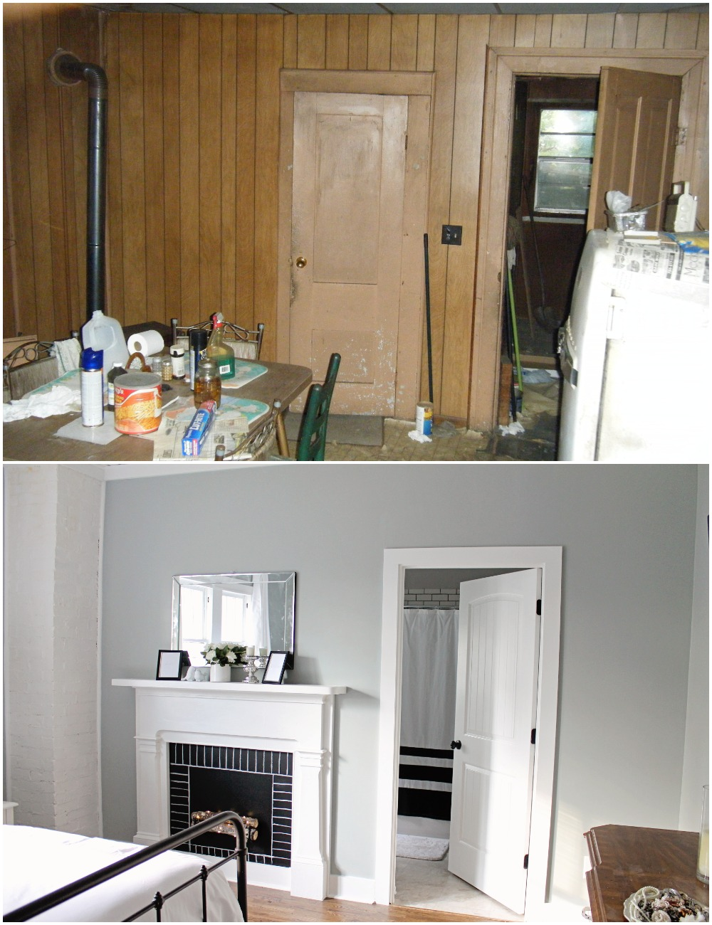Elizabeth Burns Design  Budget-Friendly Fixer Upper Farmhouse Before and After House Flip - DIY Master Bedroom with Faux Fireplace, Chimney, and Bed Under Windows - Sherwin Williams Magnetic Gray (2).jpg