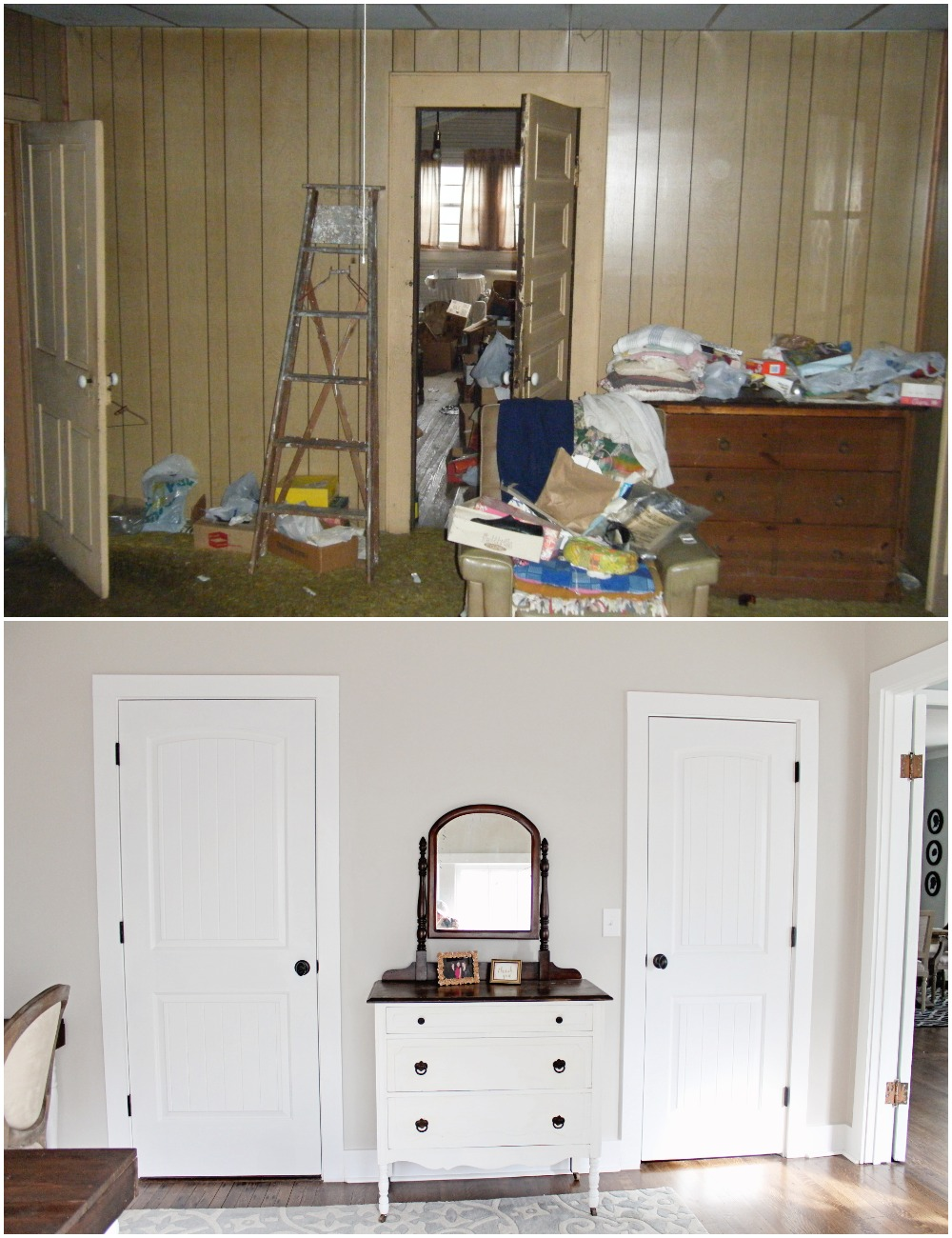Elizabeth Burns Design  Budget-Friendly Fixer Upper Farmhouse Before and After House Flip - DIY Office with Double Desk Shared Workspace and French Doors - Sherwin Williams Agreeable Gray (2).jpg