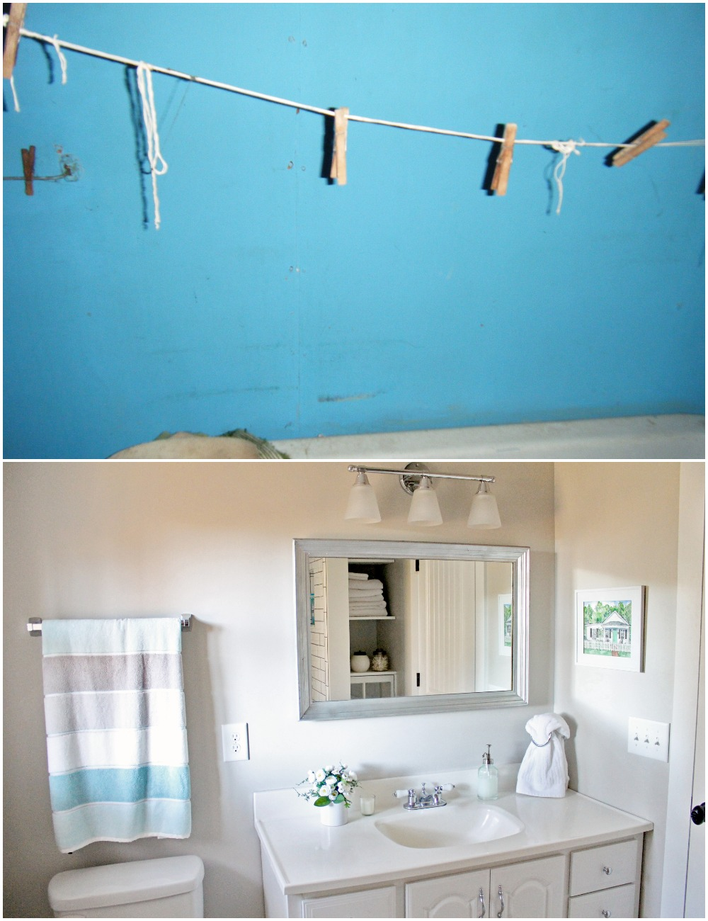 Elizabeth Burns Design  Budget-Friendly Fixer Upper Farmhouse Before and After House Flip - DIY Small Bathroom with Storage and Subway Tile - Sherwin Williams Agreeable Gray (2).jpg