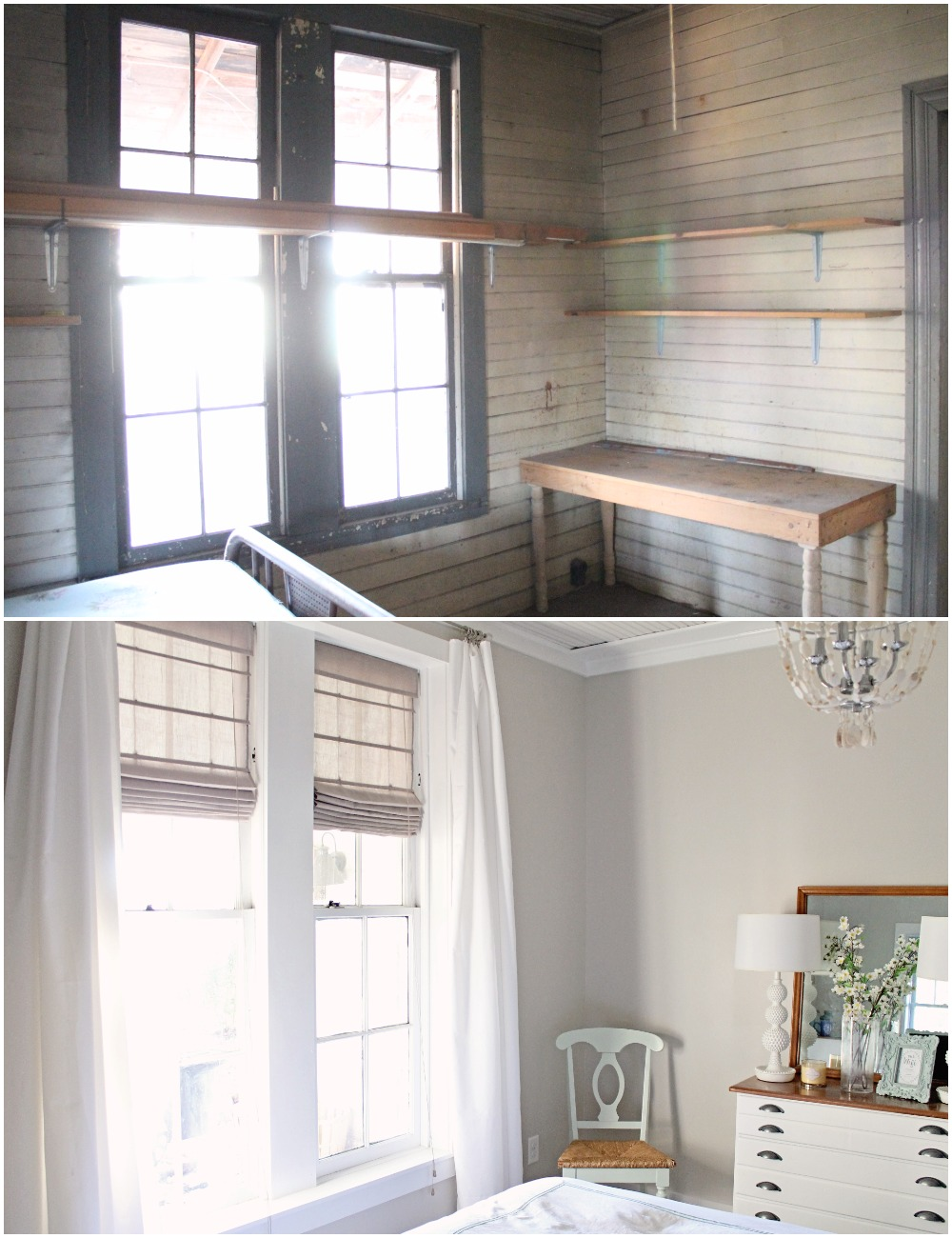 Elizabeth Burns Design  Budget-Friendly Fixer Upper Farmhouse Before and After House Flip - DIY Guest Bedroom with Aqua Accents - Sherwin Williams Agreeable Gray (2).jpg