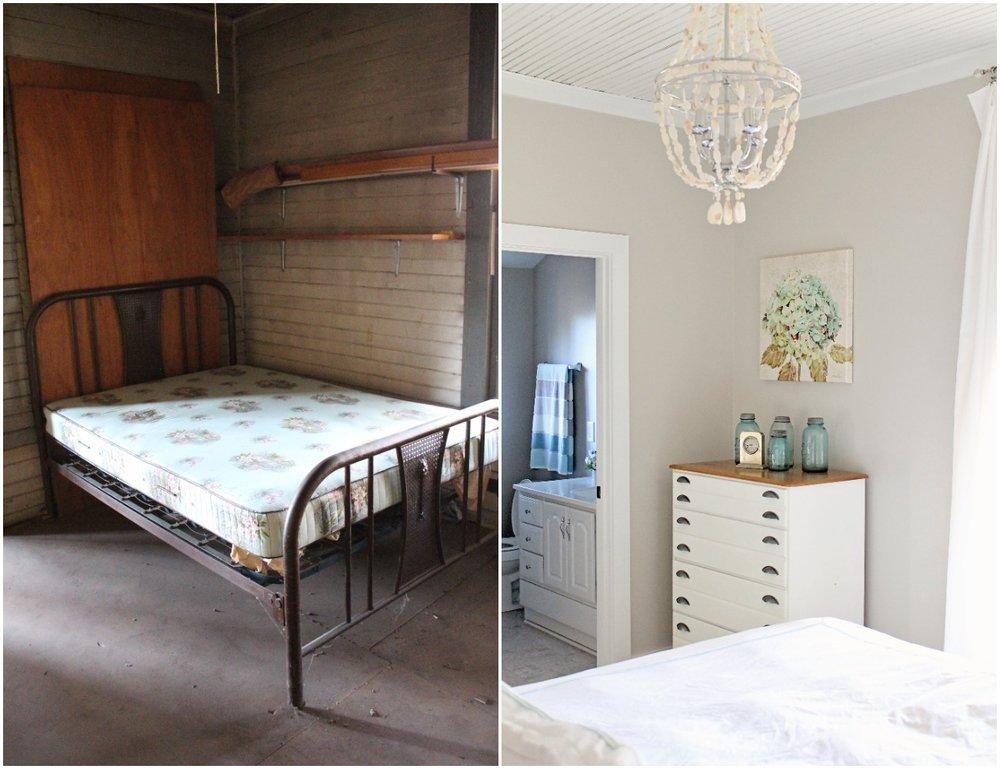 Elizabeth Burns Design  Budget-Friendly Fixer Upper Farmhouse Before and After House Flip - DIY Guest Bedroom with Aqua Accents - Sherwin Williams Agreeable Gray (3).jpg
