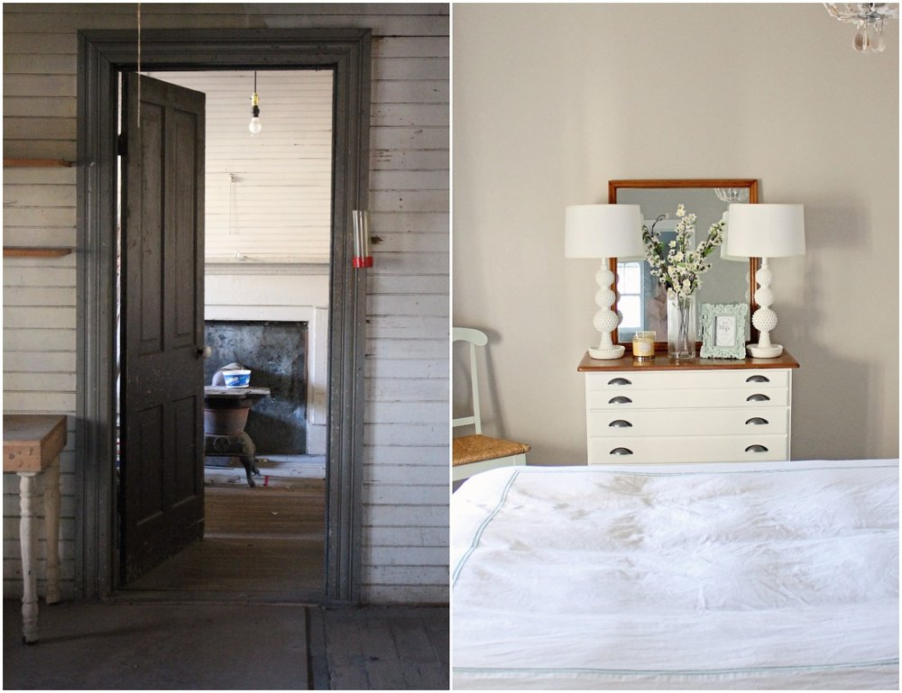 Elizabeth Burns Design  Budget-Friendly Fixer Upper Farmhouse Before and After House Flip - DIY Guest Bedroom with Aqua Accents - Sherwin Williams Agreeable Gray (4).jpg
