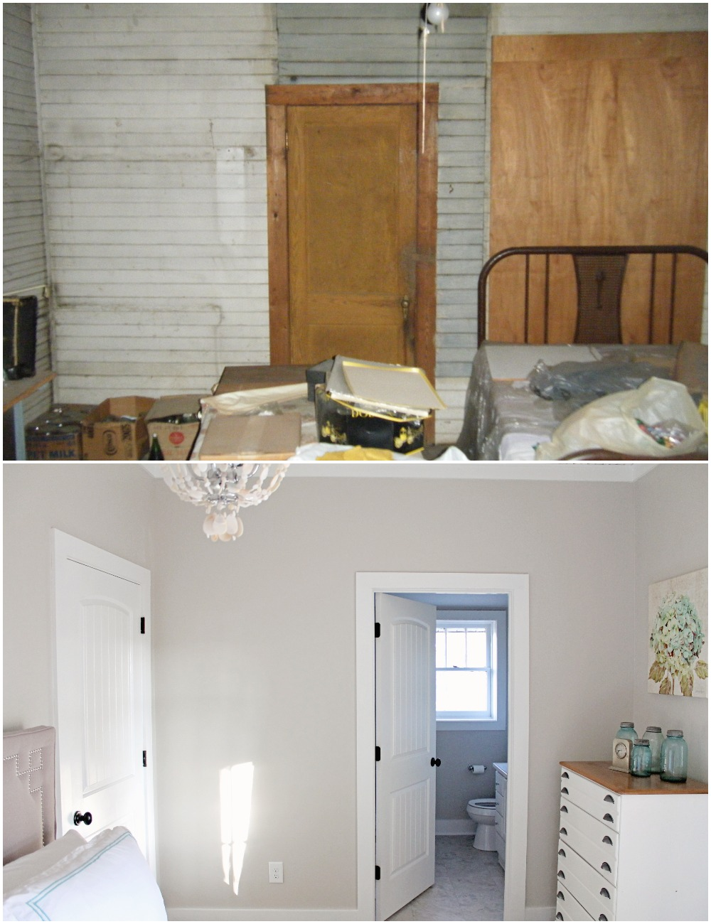 Elizabeth Burns Design  Budget-Friendly Fixer Upper Farmhouse Before and After House Flip - DIY Guest Bedroom with Aqua Accents - Sherwin Williams Agreeable Gray (5).jpg