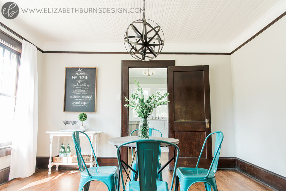 Elizabeth Burns Design | Whole House Paint Color Scheme - Sherwin Williams Repose Gray Dining Room