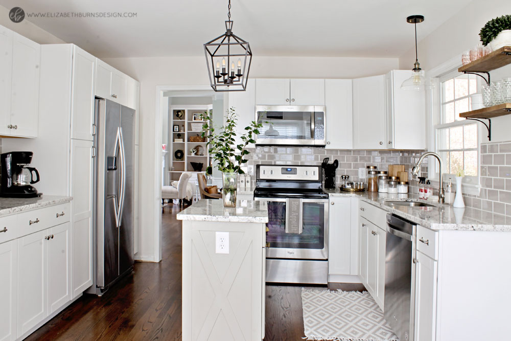 Elizabeth Burns Design | Whole House Paint Color Scheme - Benajmin Moore Classic Gray Kitchen with White Cabinets and Gray Island