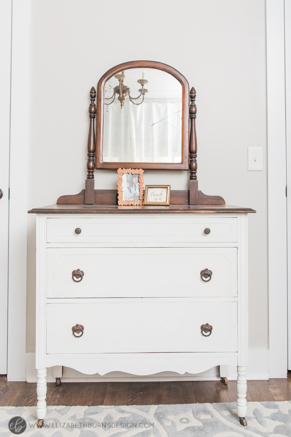 Elizabeth Burns Design | Whole House Paint Color Scheme - Sherwin Williams Agreeable Gray Office with Vintage Chest Vanity