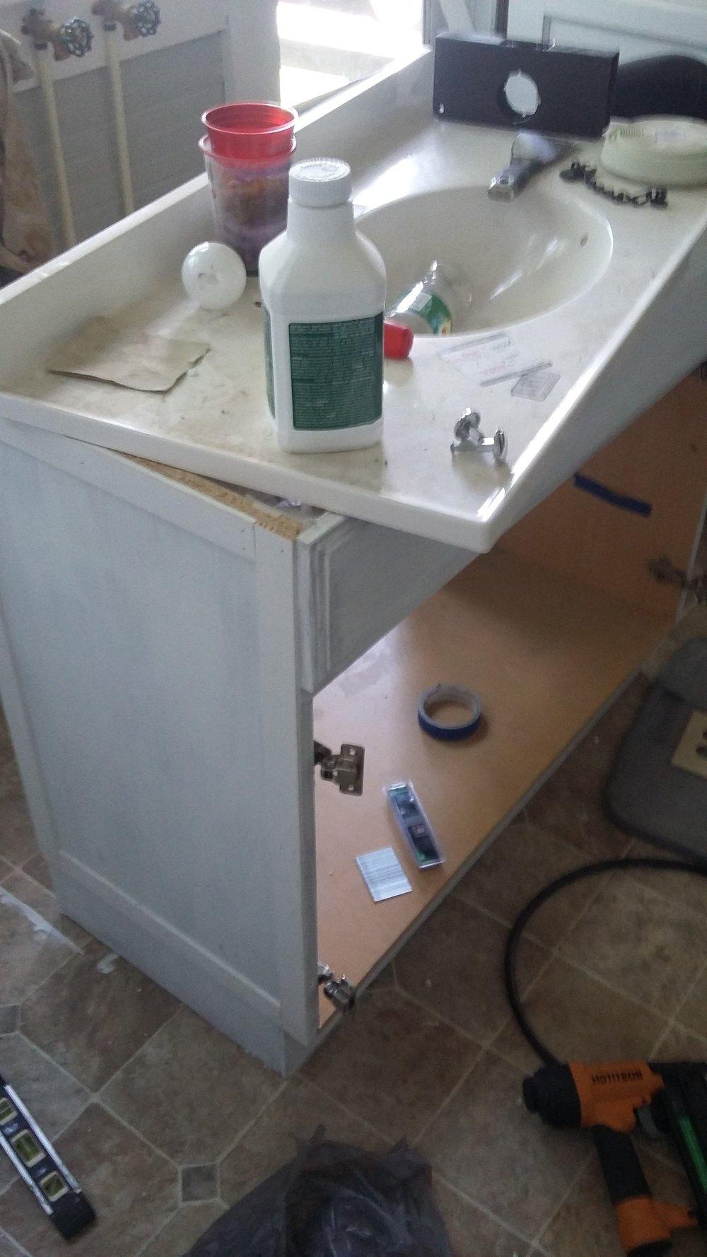 DIY Bathroom Vanity X Trim - Cheap Vanity Makeover Before 1