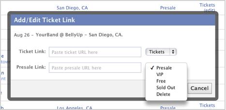 Add/Edit Ticket Links