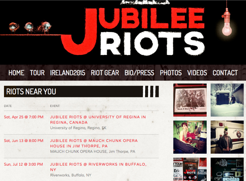 Jubilee Riots with Bandsintown tour dates featured on their Bandzoogle website.