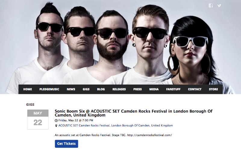 Sonic Boom Six with Bandsintown tour dates featured on their Bandzoogle website.