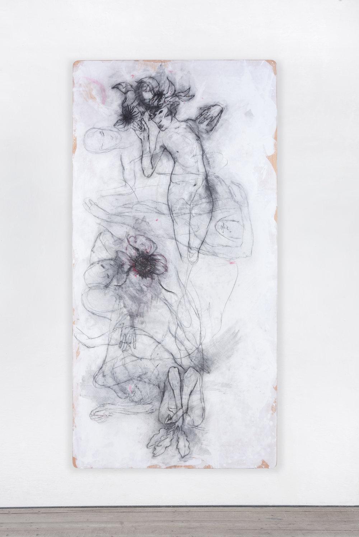 Peter Senoner, Botanicalirious I, 2017, graphite, pigment on beech, 250 x 125 x 4 cm