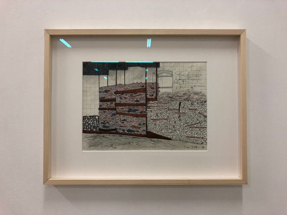 Finbar Ward, Ortisei diaries V, 2018, graphite, ink and crayon on paper, 35 x 46 x 3 cm