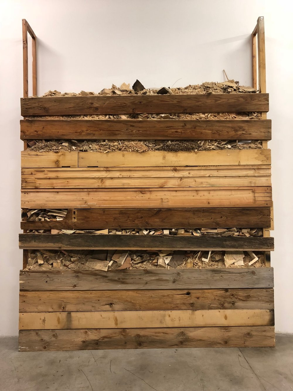 Finbar Ward, Shed / Shed (Aron), 2018, reclaimed timber, waste material from the studios of Aron Demetz, Arnold Holzknecht and Walter Moroder screws, 330 x 255 x 36 cm