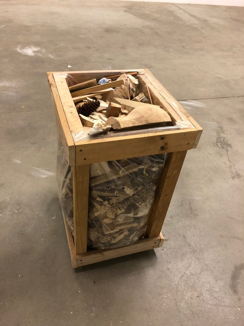 Finbar Ward, Shed /Shed (Arnold), 2018, reclaimed timber, plastic bag, waste material from the studios of Aron Demetz, Arnold Holzknecht and Walter Moroder screws, 73 x 48 x 44 cm