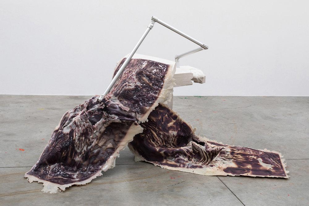 Sophie Hirsch, Proposal, 2018, silicone, fabric, plaster, aluminium, 240 x 150 x 131 cm