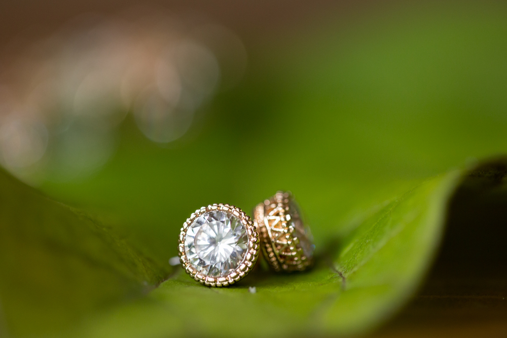 detailed gold diamond wedding earring photography ann arbor
