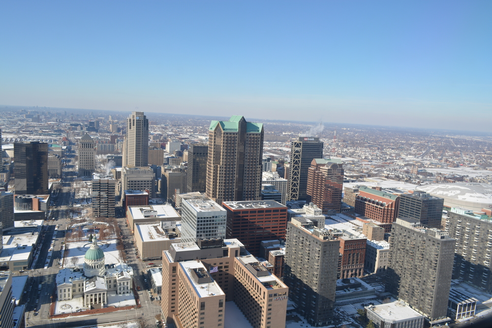 View of Downtown Saint Louis from the top of the Arch