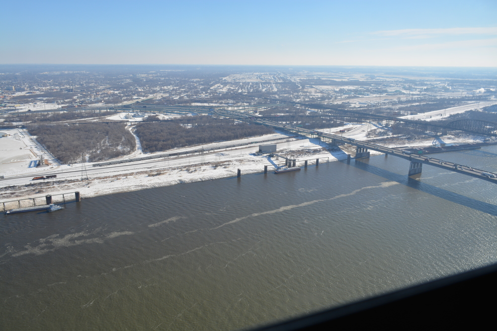 View of the Missouri River from the top of the Arch
