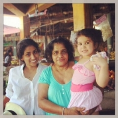 With my mother and my daughter Fillippa. Tangalle spice market . Sri Lanka 2014.