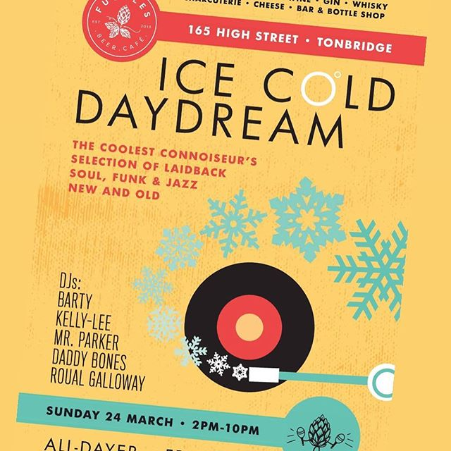 Not long now until we host ICE COLD DAYDREAM in Tonbridge... 💃🏾 This Sunday 24th March 🕺🏽 A Soul / Funk / Jazz All Dayer! DJ's from 2 - 10 playing rare records and their select picks all day and into the evening! 🎶 Free entry of course, food served all day and we've naturally got some cracking beers, wine, spirits & cocktails! 🍻 #NorthernSoul #Soul #Funk #Jazz #Music #DJSet #rare #collectors #vinyl #records #beerandmusic #craftbeer #fugglesbeercafe #tonbridge #kent #sussex #event #party