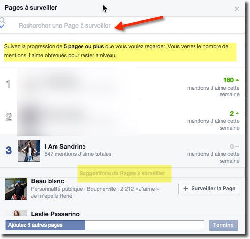 Statistiques des pages Facebook