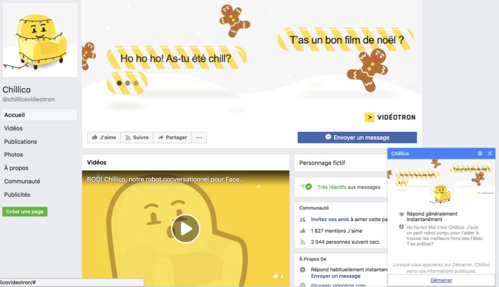 Vidéotron a d'ailleurs déjà développé son propre Chatbot sur l'application Messenger en lançant sa plateforme Chillicco, en voici un aperçu.