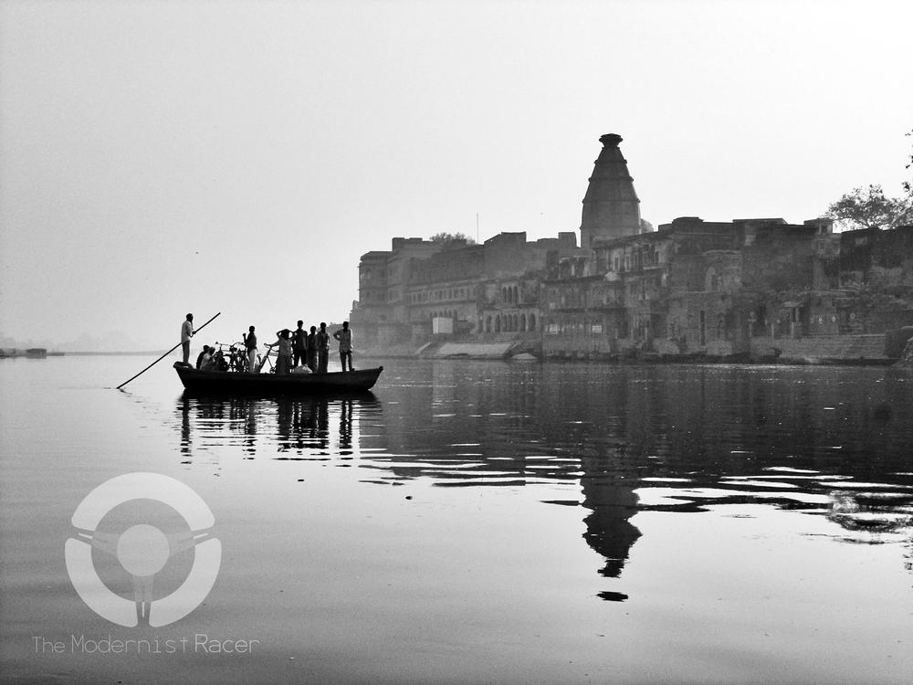 Crossing the Yamuna river in Vrindavan