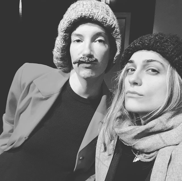 Caroling at the Pit! Last @hecknotechno show of 2018 • tomorrow night @thepitnyc • 8pm • @emilowlow @eileen_conneely @frannnliii @djraposo89 •  #mustache #luscious #sorrynotsorry  #hecknotechno #deckthehalls #wassail #musicalcomedy #sketch #happyholidays