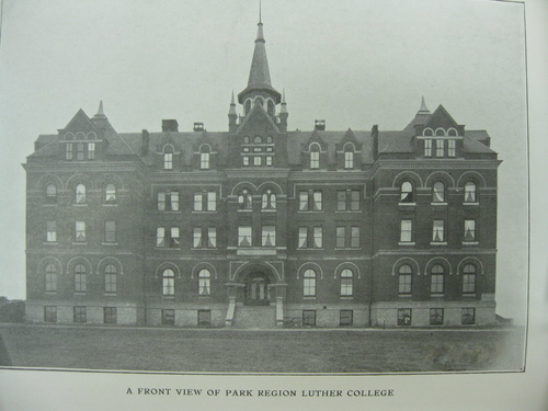 """Looming up from the river-bordered eminence, constructed in accordance with the most up-to-date plans, faced on all sides with Menominee red pressed brick, and virtually five stories in height—-the basement being partially above ground and finished throughout as a full story—-it is the largest and most complete college building in the northwest."" — Fergus Falls Weekly Journal, 1902"