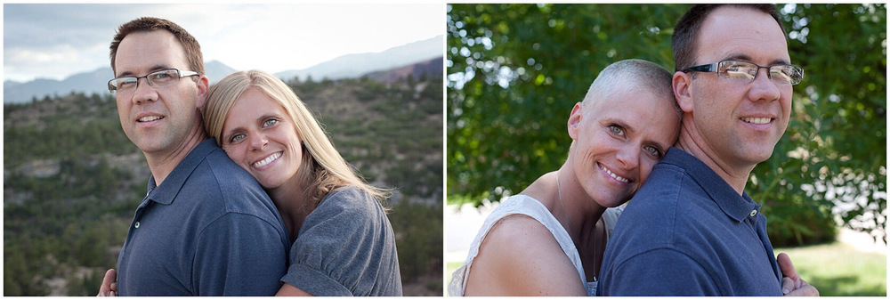 Kara Tippets poses for before and after pictures with her husband in their home in Colorado where they planted a church during Kara's battle with cancer.